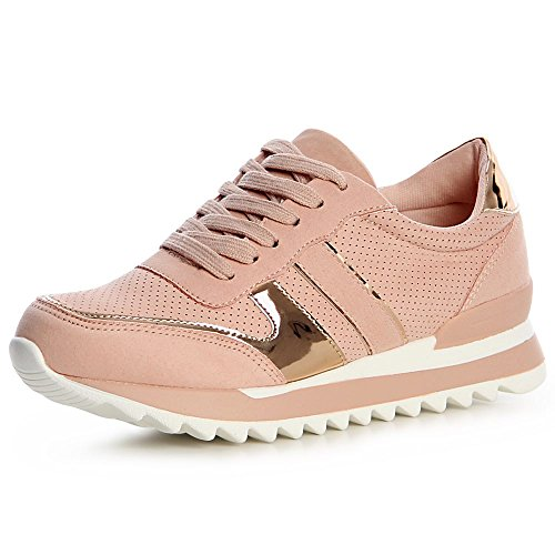 topschuhe24 1369 Damen Plateau Turnschuhe Sneaker, Größe:37, Farbe:Weiß