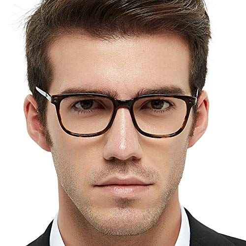 Men's Eyeglasses Frame Fashion Non Prescription Eyewear Rectangular/Square Glasses RX (Brown+Tortoise -