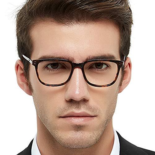 Frame Tortoise Brown (Men's Eyeglasses Frame Fashion Non Prescription Eyewear Rectangular/Square Glasses RX (Brown+Tortoise 52mm))