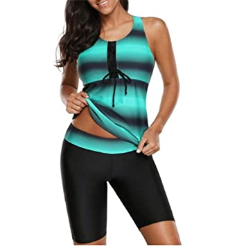 6970f66e42c Orz.orange Women s Plus Size Color Block Striped Tankini Top with Athletic Rash  Guard Capris