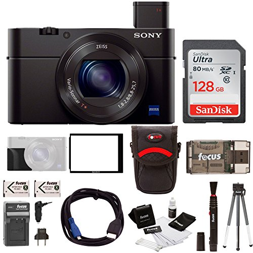 Sony Cyber-shot RX100M III Digital Camera with Sony 128GB SD Card & Battery Pack Bundle Sony Secure Digital Memory Card