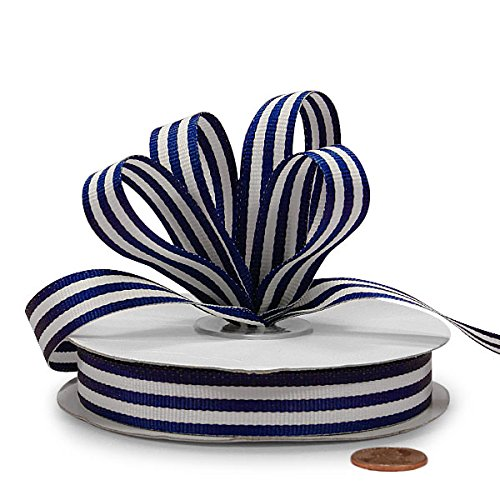 Navy Jenna Striped Grosgrain Ribbon, 5/8