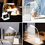 LED Desk Lamp, NovoLido Rechargeable Desk Lamp with USB Charging Port & Pen Holder, 2 Color Modes & Stepless Dimming, 360° Flexible Metal Hose, Mini Cute Lamp for College Dorm Bedroom Reading