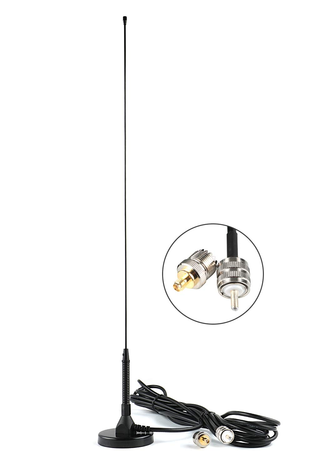 KCTIN CB Antenna UT-72 Dual-Band VHF/UHF (136-174, 400-470 Mhz) 19inch with PL-259 and SMA-F and 14FT Cable for CB Radios