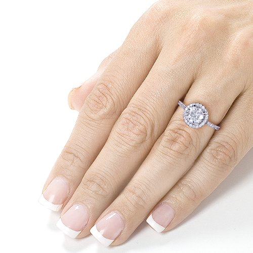 Round cut Moissanite Engagement Ring with Diamond 1 1/4 CTW 14k White Gold (6.5mm)