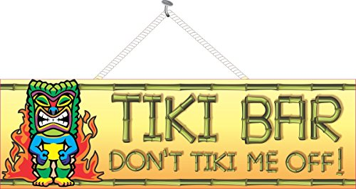 Don't Tiki Me Off Funny Tiki Bar Sign with Tribal Mask, Flames (Tribal Sign)