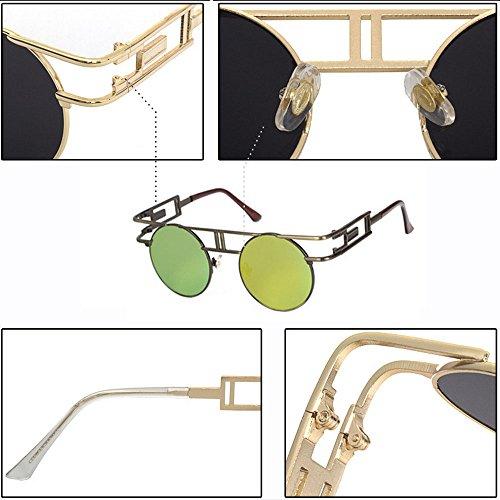 BOZEVON Reflejo Espejo Lente Vintage oro Gafas Gafas sol Steampunk gótico de de Marrón Flash rrxYS