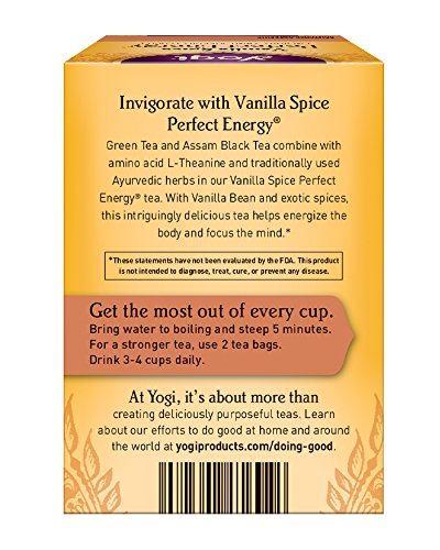 Yogi Tea, Vanilla Spice Perfect Energy, 16 Count (Pack of 6), Packaging May Vary - incensecentral.us