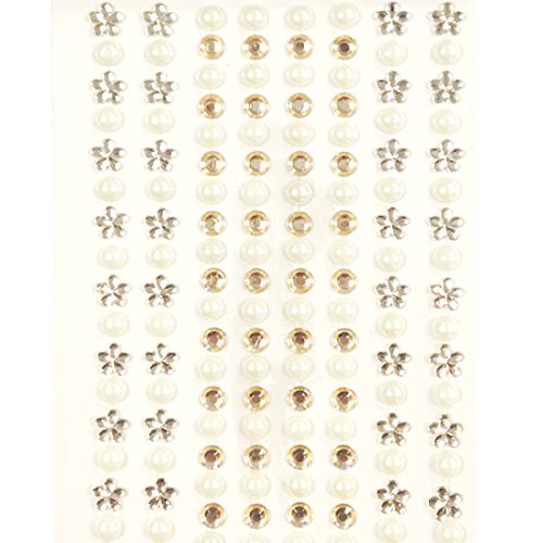 (Wrapables 164-Piece Adhesive Rhinestone Crystal Flower and Pearl Stickers, Champagne and Silver)