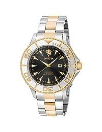 Invicta Men's Sea Base Gold-Tone Steel Bracelet & Case S. Sapphire Quartz Black Dial Analog Watch 17972