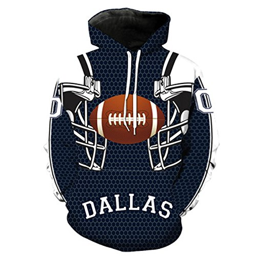 Men's Dallas Cowboy 3D Hoodies 2018 New Printed Pocket Jacket Fashion Tracksuit Pullovers,Black,XXXL -