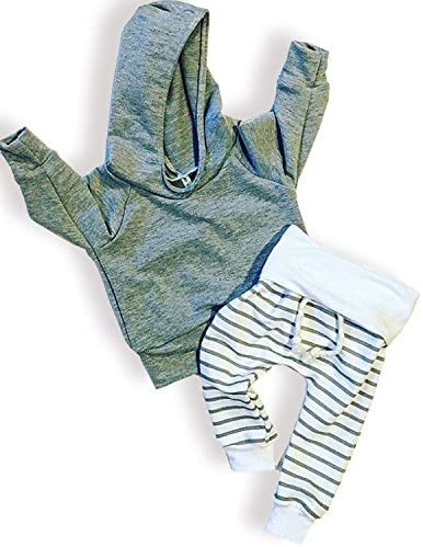 Bebé recién nacido niños niñas gris con capucha para mujer parte superior + Pants Trajes a rayas Set toddling alrededor de ropa