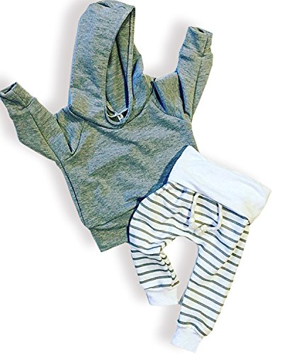 Newborn Baby Boys Girls Grey Hoodie Sweatshirt Top + Striped Pants Outfits Set toddling around Clothes(6-12 Months)