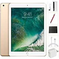 New Apple iPad 2017 Tablet (9.7 Inch, 128GB, Gold, 5th Generation, WiFi) + Accessories Bundle (10,000mAh iPad Power Bank, iPad Stylus Pen, Microfiber Cloth) MPGW2LL/A