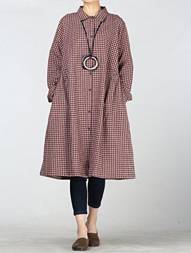 Femme Poches Elgante Carreux Lger Rouge Robe Chemise Vogstyle Longue Veste Blouse Latrales 4zwdq4gf
