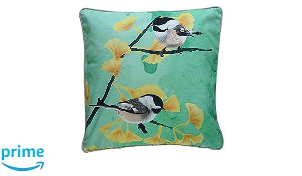 MYRTE Chickadees ilustración de cojín con pájaro, verde ...