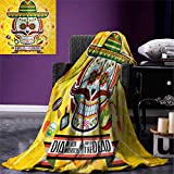 Day of The Dead Digital Printing Blanket Mexican Sugar Skull with Tacos and Chili Pepper November 2nd Colorful Art Print Summer Quilt Comforter 80''x60'' Yellow