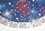 "Tabletop Patriotic / Fourth of July Tree Skirt, 24"" Fireworks with Silver Ruffle"