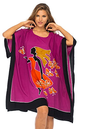 Back From Bali Womens Loose Beach Cover Up Short Poncho Butterfly Dancer Fuchsia