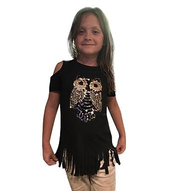 4b1354d2e93c3 Moonker Fashion Kid Toddler Baby Girls Owl Sequined Tassel Backless Blouse T -Shirt Summer Tops