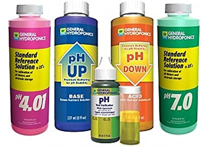 General Hydroponics pH 7.0 Calibration Solution 8 oz, pH 4.01 Calibration Solution 8 oz, pH Control Kit