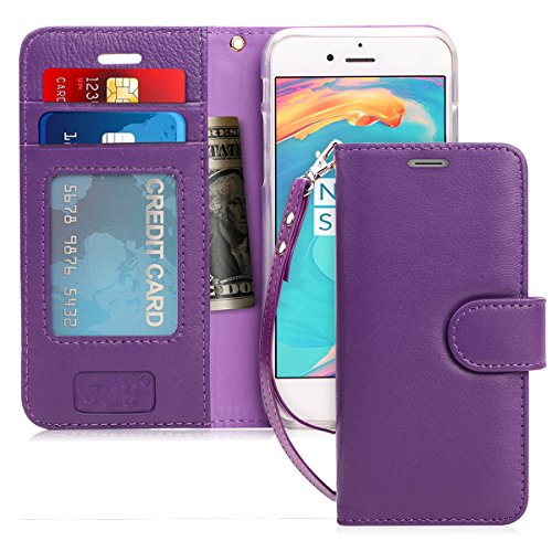 FYY Case for iPhone 7/iPhone 8, [Kickstand Feature] Flip Folio Genuine Leather Wallet Case with ID and Credit Card Pockets for Apple iPhone 8/7 (4.7) Purple
