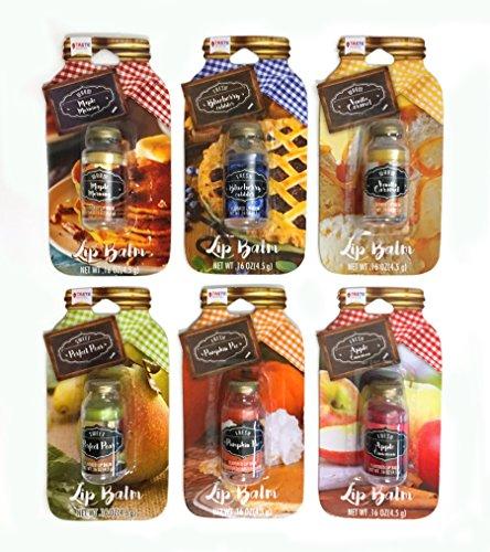 Taste Beauty 6PC Flavored Mason Jar Lip Balm (Perfect Pear, Vanilla Caramel, Apple Cinnamon, Blueberry Cobbler, Maple Morning, Pumpkin Pie)