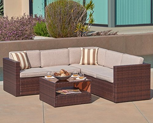 Solaura Outdoor 4-Piece Sofa Sectional Set All Weather Brown Wicker with Beige Waterproof Cushions & Sophisticated Glass Coffee Table | Patio, Backyard, Pool Brown Sectional Set