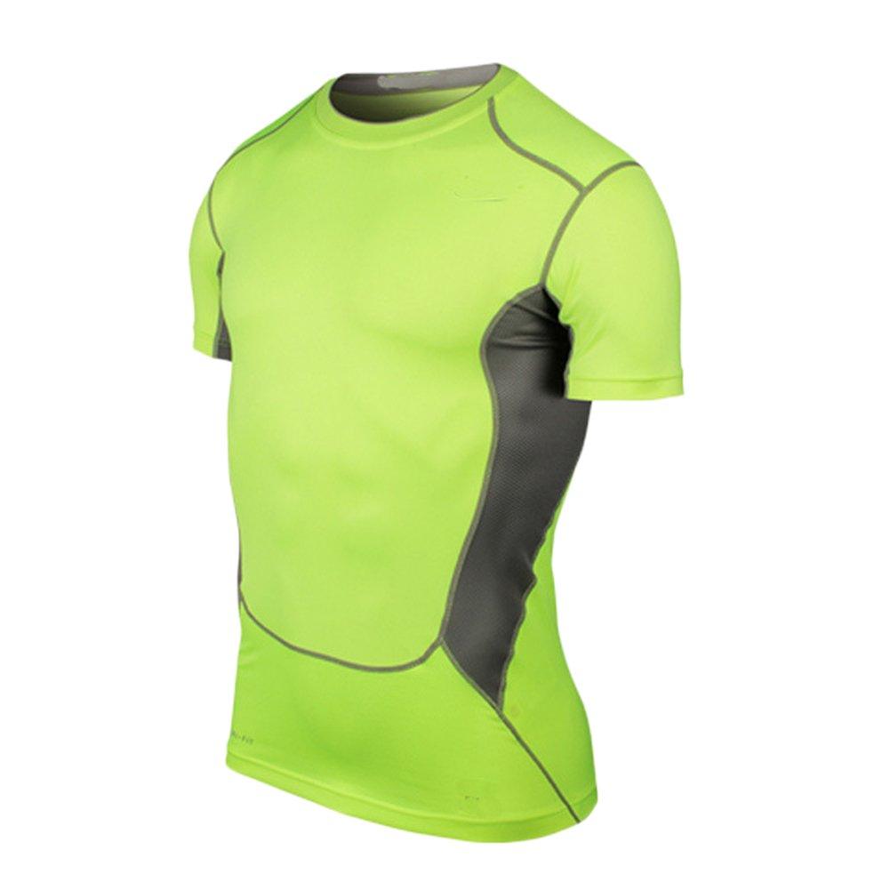 LaoZanA Hombre Entrenamiento Fitness Deportes Gimnasio Running Camiseta  Camiseta De Compresión De Manga Corta d04f72b01997d