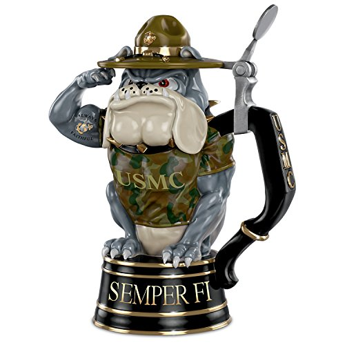 Officially Licensed USMC Devil Dog Porcelain Stein by The Bradford (Marine Corp Tattoo)