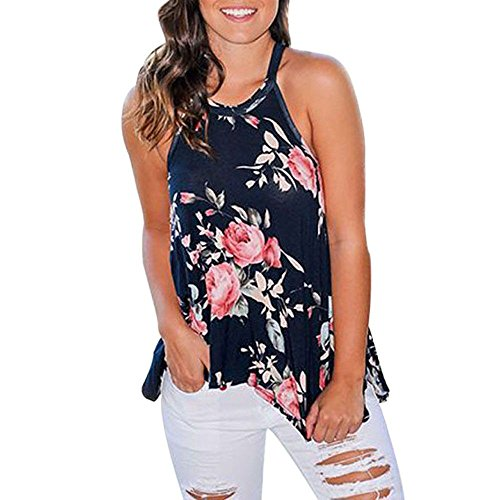 (Amlaiworld Women Camisole Shaper Tank Tops Halter Neck Blouse Floral Print Shirt Casual Blouse T Shirt Sleeveless Pullover Blue)