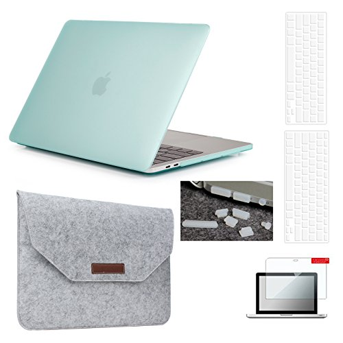 MacBook Pro 13(2016 2017 2018 Version) Hardshell Case & Felt Sleeve[5 in 1 Bundle] with Screen Protector,Keyboard Cover,Dust Plug, Model A1706/A1708/A1989 with/without Touch Bar - Mint Green