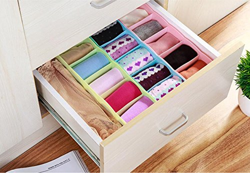 Hosaire Storage Box Multi-function Five Grid Plastic Underwear Sock Ties Separator Organizer Case Desk Drawer Closet Organizer ,Set of 3 Color by Hosaire (Image #1)