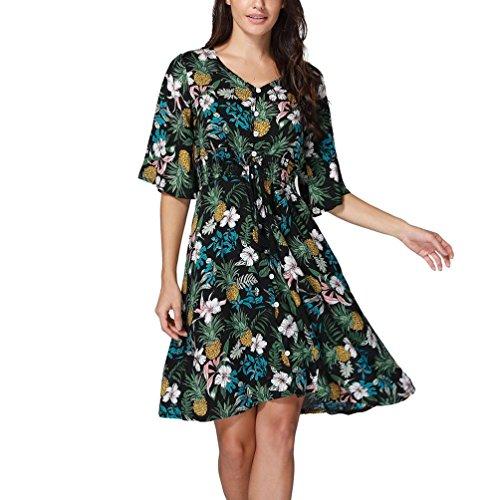 Lethez Dress New Arrivel! Women's Boho Button up Split Floral Print Flowy Party Dress Half Sleeve Ruffles Short Beach Dress (Asian Size M, Black)