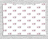 Emoji Tapestry, Cat Faces with Pink Heart Shaped Eyes Romantic Animal Kitty Mascot In Love, Wall Hanging for Bedroom Living Room Dorm, 80 W X 60 L Inches, Pale Grey Pink White