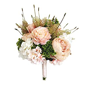 USIX Handmade Natural Looking Artificial Light Coral Mixed Flowers Classic Picture-Perfect Wedding Bridal Holding Bouquet Bridesmaid Bouquet Throw Bouquet Wedding Flower Arrangements 108