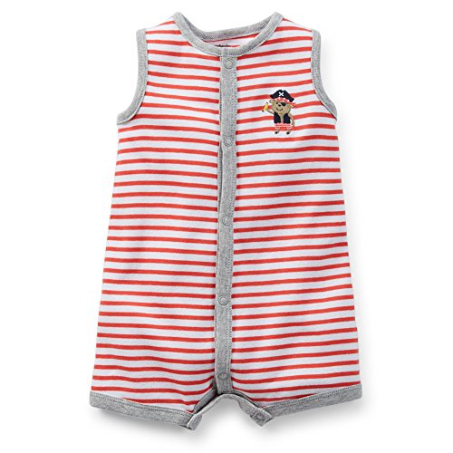 [Carter's Baby Boys' 1-piece Appliqué Snap-Up Romper (6 Months, Pirate Monkey)] (Monkey Outfits For Toddlers)
