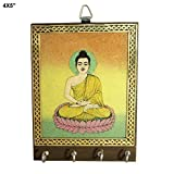 R S Jewels Wooden Buddha Painting Key Holder Meditation Hand painted Wall Decor Art Indian Wood Handmade Key Holder