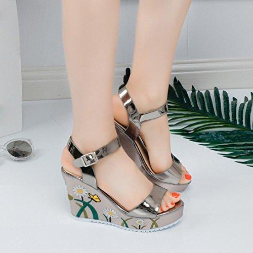 Cuña alto PU Plataforma Summer de Peep toe Ladies tacón de Sandalias Estampado Clode® Sandalias para Cuero Oro flores mujer Gilrs de Zapatos wTOU6