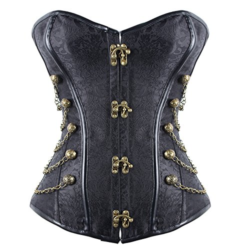 FeelinGirl Women's Spiral Steel Boned Steampunk Gothic Bustier Corset with Chains M Chain Bustier Dress