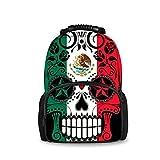 JACINTAN Fashion Men Backpack Mexican Flag Sugar Skull Felt Bookbags School