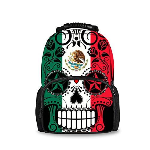 JACINTAN Fashion Men Backpack Mexican Flag Sugar Skull Felt Bookbags School (The Best Backpack Blower)