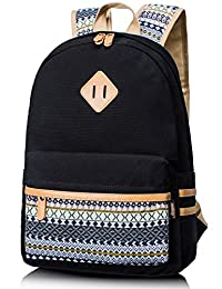 Leaper Causal Style Lightweight Canvas Cute Backpacks School Backpack Large Black