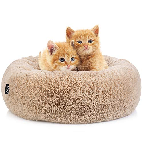 Pedy Round Pet Bed, Luxury Fur Donut Cuddler, Cats and Dogs Self-Warming Plush Cushion -