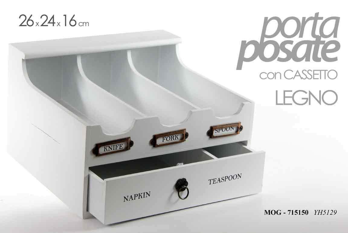 Gicos Porta Posate Cucina in Legno 5 Scomparti con cassetto 26 * 24 * 16 cm Decorato Shabby Chic MOG-715150