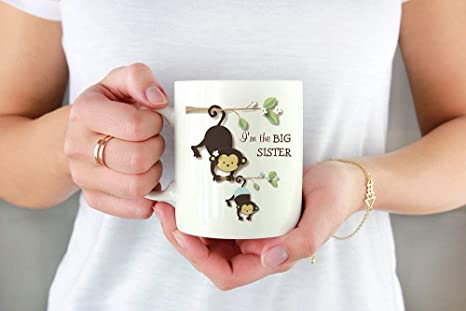 Amazon Com Cute Big Sister Monkey With Lil Baby Brother Funny Gift