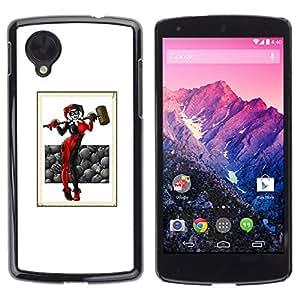 GOODTHINGS Funda Imagen Diseño Carcasa Tapa Trasera Negro Cover Skin Case para LG Google Nexus 5 D820 D821 - joker martillo arte mujer negro rojo blanco