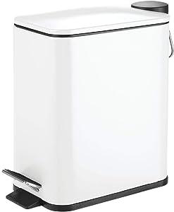 mDesign 5 Liter Rectangular Small Steel Step Trash Can Wastebasket, Garbage Container Bin for Bathroom, Powder Room, Bedroom, Kitchen, Craft Room, Office - Removable Liner Bucket - White