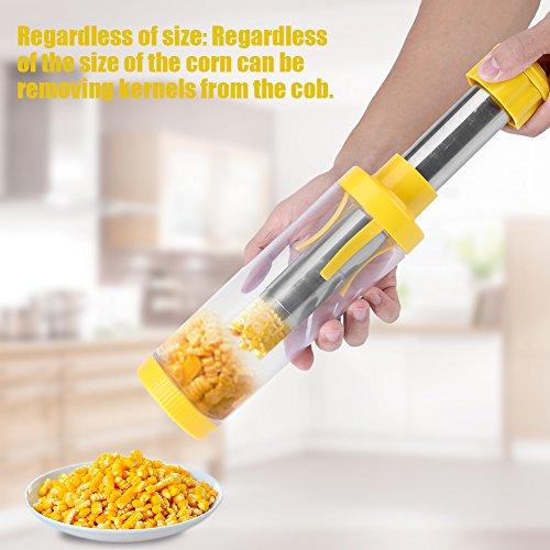 Corn Peeler, Yellow Corn Cob Cutter Corn Kernel Remover Tool for Home Kitchen with Stainless Steel (Stainless Steel Corn Cutter)