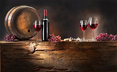 (Leowefowa 5X3FT Party Celebration Backdrop Retro Wood Cast Barrel Red Wine Backdrops for Photography Grape Gloomy Wood Floor Autumn Vinyl Photo Background Kids Baby Studio Props)